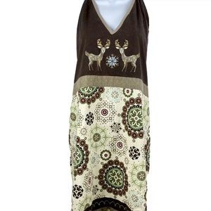 Reindeer Apron Embroidered Ruffled Adult Full Size